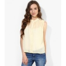 Deals, Discounts & Offers on Women Clothing - Flat 60% off on ONLY Yellow Round Neck Shirt