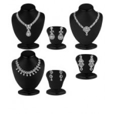 Deals, Discounts & Offers on Earings and Necklace - Sukkhi Zinc Silver Plated Australian Diamond Silver Necklace Set of 3
