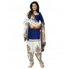 Deals, Discounts & Offers on Women Clothing - Dealsure Blue Cotton A-line Unstitched Dress Material