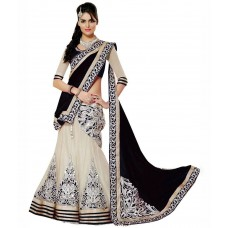 Deals, Discounts & Offers on Women Clothing - Hariom Fashion Hub Black Net Unstitched Lehenga