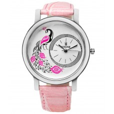 Deals, Discounts & Offers on Women - Hizone Pink Leather Analog Watch