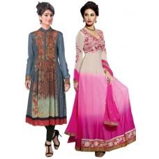 Deals, Discounts & Offers on Women Clothing - Alethia Enterprise Women's Unstitched Kurti & Salwar Suit Combo