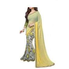 Deals, Discounts & Offers on Women Clothing - See More Beautiful Yellow Georgette Saree With Blouse Pics