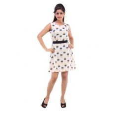 Deals, Discounts & Offers on Women Clothing - Rangree Cotton A-line Off-white Dress For Women