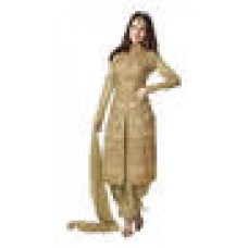 Deals, Discounts & Offers on Women Clothing - Nandlal creation Beige Georgette Semi Stitched Suit