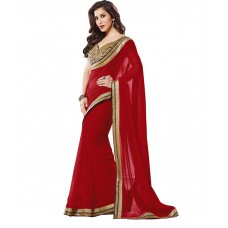 Deals, Discounts & Offers on Women Clothing - Designer saree Red Faux Georgette Saree