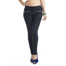 Deals, Discounts & Offers on Women Clothing - Thinline Black Cotton Lycra Jeggings