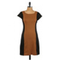 Deals, Discounts & Offers on Women Clothing - Dual toned poly viscose sheath dress offer