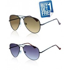 Deals, Discounts & Offers on Health & Personal Care - Brown & Blue Aviator Style Sunglasses - Buy 1 Get 1 Free
