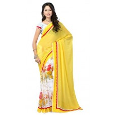 Deals, Discounts & Offers on Women Clothing - Indian Beauty Yellow Faux Georgette Sari