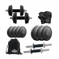 Deals, Discounts & Offers on Health & Personal Care - Headly 10 Kg Rubber Weight, 35 cm (14) Dumbbell Rods, Gym Bag, Accessories