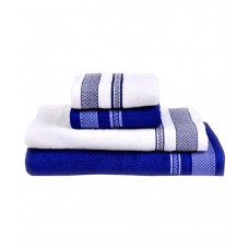 Deals, Discounts & Offers on Accessories - Vintana Blue & White Cotton Towel Set Pack Of 4