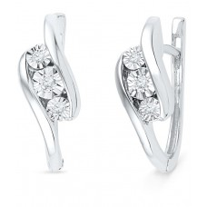 Deals, Discounts & Offers on Women - Caratlane Tranquility 92.5 Silver Certified, Real Diamond Earring offer