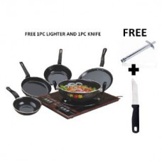 Deals, Discounts & Offers on Home Appliances - Micra 5pcs Hard Coat Induction Cookware Set with Lighter and Knife Free