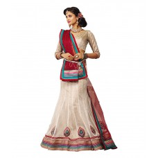Deals, Discounts & Offers on Women Clothing - Melluha Beige Net Embroidered Booti Work Lehenga