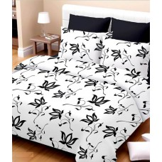 Deals, Discounts & Offers on Home Appliances - Rr Textile House White Floral Cotton Double Bedsheet With 2 Pillow Cover