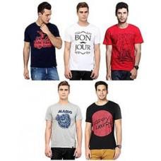 Deals, Discounts & Offers on Men Clothing - Rigo Combo Of 5 Cotton Men T Shirts
