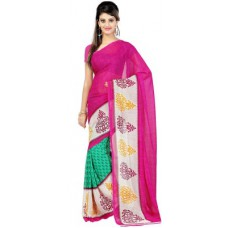 Deals, Discounts & Offers on Women Clothing - Ambaji Floral Print Daily Wear Georgette Sari