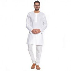 Deals, Discounts & Offers on Men Clothing - Mens White Short length Kurta With Pyjama
