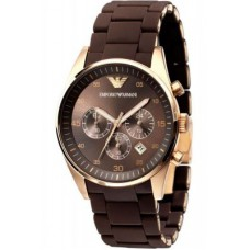 Deals, Discounts & Offers on Men - Armani Round Brown Rubber Watch