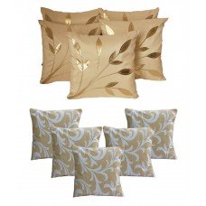 Deals, Discounts & Offers on Home Decor & Festive Needs - Dekor World Beige Contemporary Polyester 5 Cushion Cover - Buy5 Get5