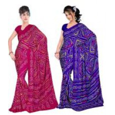Deals, Discounts & Offers on Women Clothing - Styloce Multi Colour Faux Georgette Bandhej Saree With Blouse Piece - Combo Of 2