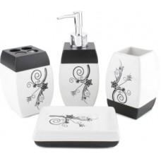 Deals, Discounts & Offers on Home Appliances - Chrome Black Flower print Bone China Bathroom Set