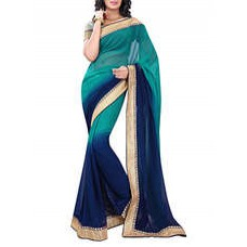 Deals, Discounts & Offers on Women Clothing - Flat 45% off on thic boreder chiffon fabric saree