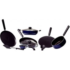 Deals, Discounts & Offers on Home Appliances - Khushi Blue 10 pcs Nonstick Set Kadhai, Pan, Tawa Set Cookware Set