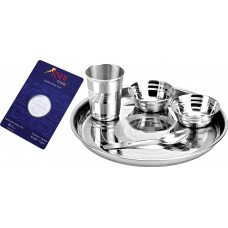 Deals, Discounts & Offers on Home Appliances - Tosmy Exclusive Stainless Steel Dinner Set, 5-Pieces With Silver Coin