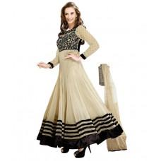 Deals, Discounts & Offers on Women Clothing - ANARKALI PLUS Beige Faux Georgette Unstitched Dress Material