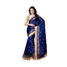 Deals, Discounts & Offers on Women Clothing - Flat 65% off on Women Blue Satin Chiffon Saree