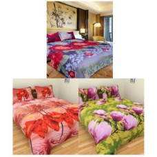 Deals, Discounts & Offers on Home Appliances - iliv Set of 3 designer 3D double bedsheets with 6 pillow covers