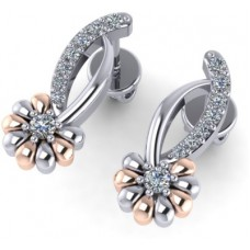 Deals, Discounts & Offers on Earings and Necklace - GehnaBox GBE007 18 K Diamond White Gold Stud Earring