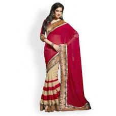 Deals, Discounts & Offers on Women Clothing - Flat 73% off on Janasya Half-half Heavy Border Designer Saree
