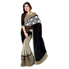 Deals, Discounts & Offers on Women Clothing - Ravi Designer Sarees Black Faux Georgette Saree
