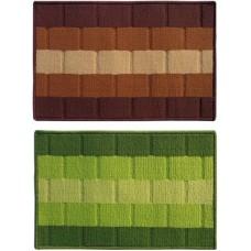 Deals, Discounts & Offers on Home Decor & Festive Needs - Status Polypropylene Medium Door Mat Iris_darkbrown_green_2pcs
