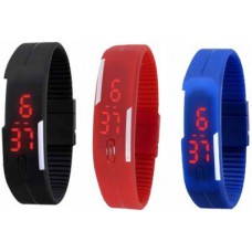 Deals, Discounts & Offers on Accessories - Bay Rubber Led Magnet Pack Of 3 Digital Watch
