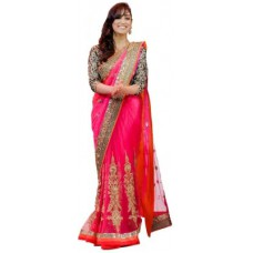 Deals, Discounts & Offers on Women Clothing - Ecom Exports Embriodered Fashion Net Sari