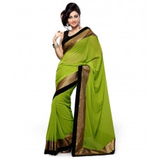 Deals, Discounts & Offers on Women Clothing - Mamta Sarees Green Chiffon Sarees offer