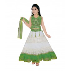 Deals, Discounts & Offers on Baby & Kids - Saarah White Green Lehenga Choli Set For Girls