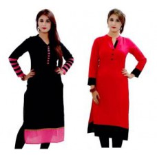Deals, Discounts & Offers on Women Clothing - Kia Fashions Black & Red Color Combo Of 2 Kurti