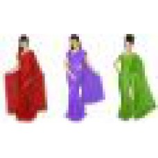 Deals, Discounts & Offers on Women Clothing - V-star Set Of 3 Lycra Sarees With Blouse offer
