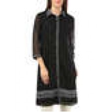 Deals, Discounts & Offers on Women Clothing - black poly georgette kurta offer
