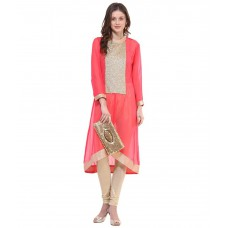 Deals, Discounts & Offers on Women Clothing - La Firangi Peachpuff Straight Pure Georgette Kurti