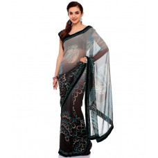 Deals, Discounts & Offers on Women Clothing - Flat 50% off on EK Gray Faux Georgette Saree