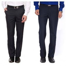 Deals, Discounts & Offers on Men Clothing - Mafatlal Pack of 2 Black & Blue Poly Trouser Combo Pack at 85% off