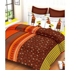 Deals, Discounts & Offers on Home Appliances - Always Plus Orange & Brown Ethnic Cotton Double Bedsheet with 2 Pillow Covers