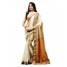 Deals, Discounts & Offers on Women Clothing - Dolly J By Vishal White Tissue Saree