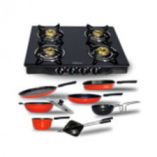 Deals, Discounts & Offers on Home Appliances - Sunflame 4 Burner + Chef master 8 pcs Non Stick Cookware Set